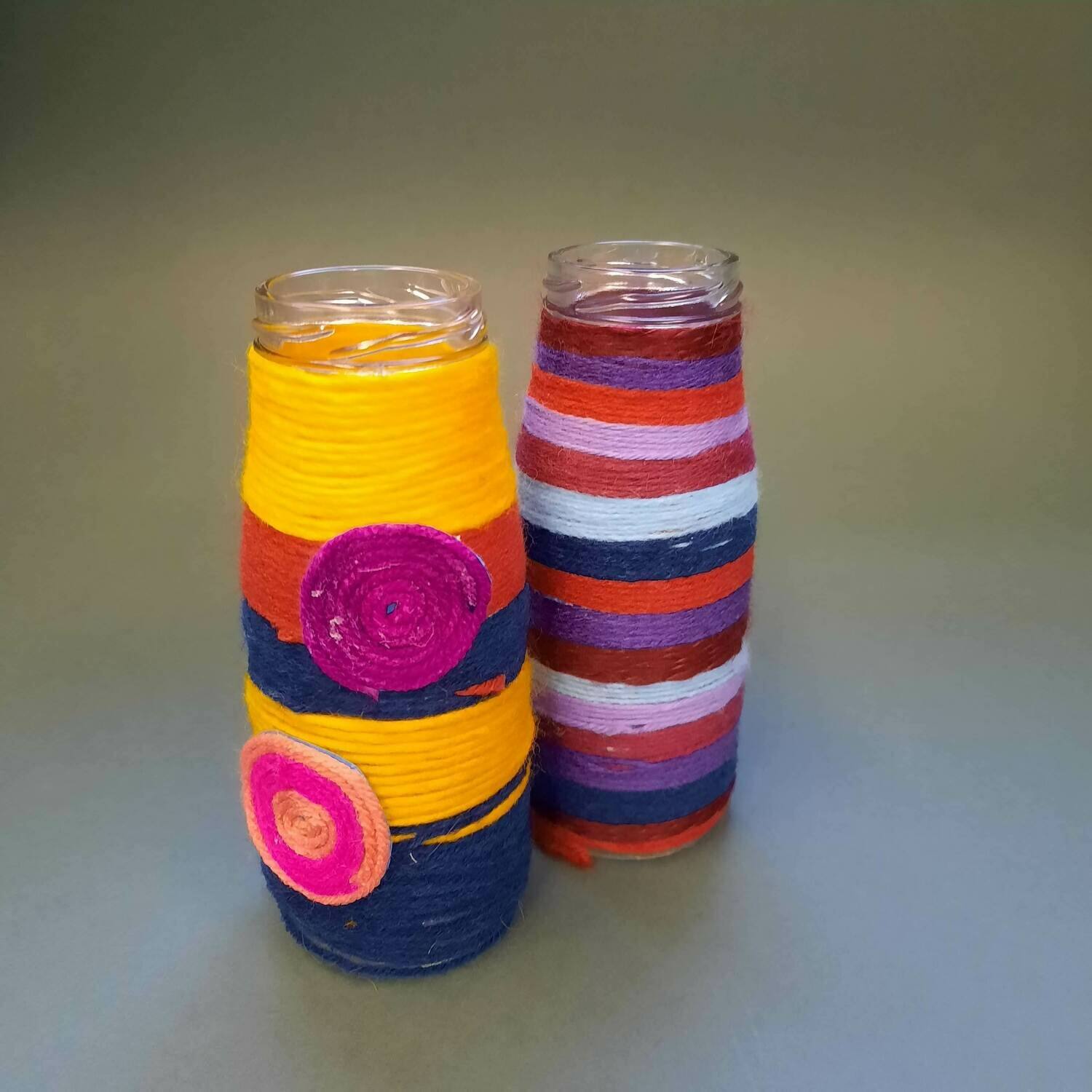 Yarn Wrapped Bottle Vases