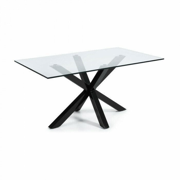Mesa Argo 160 cm cristal patas negro
