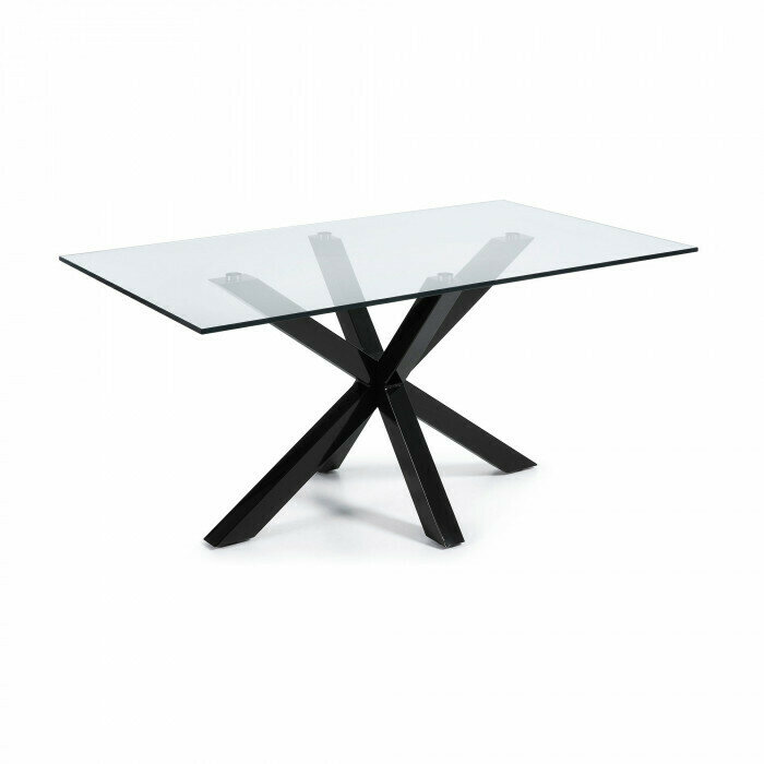 Mesa Argo 180 cm cristal patas negro