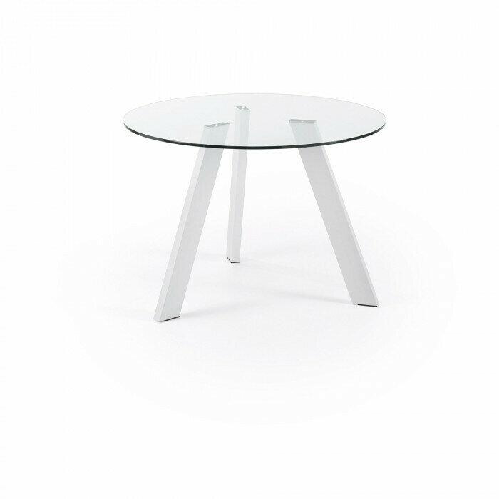 Mesa Carib Ø 110 cm cristal patas blanco