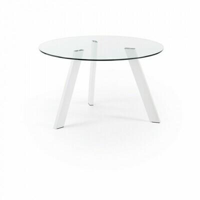 Mesa Carib Ø 130 cm cristal patas blanco