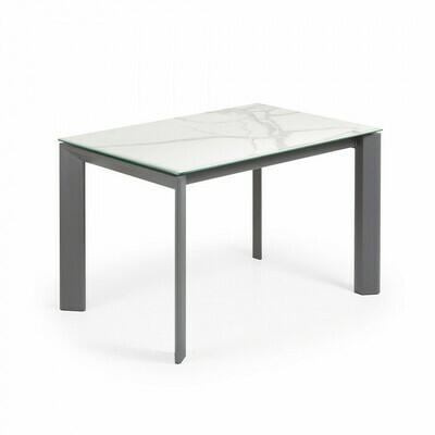 Mesa extensible Axis 120 (180) cm porcelánico acabado Kalos Blanco patas antracita