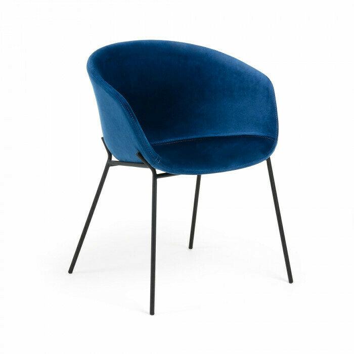 Silla Yvette terciopelo azul