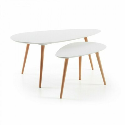 Set oval Kirb de 2 mesas auxiliares blanco