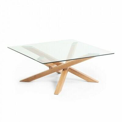 Mesa de centro Kamido 90 x 90 cm sobre cristal patas metal acabado madera