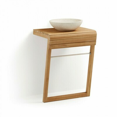 Mueble de baño de pared Kuveni 60 x 92 cm de madera maciza de teca