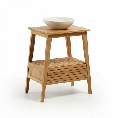 Mueble de baño Kuveni 70 x 91 cm de madera maciza de teca