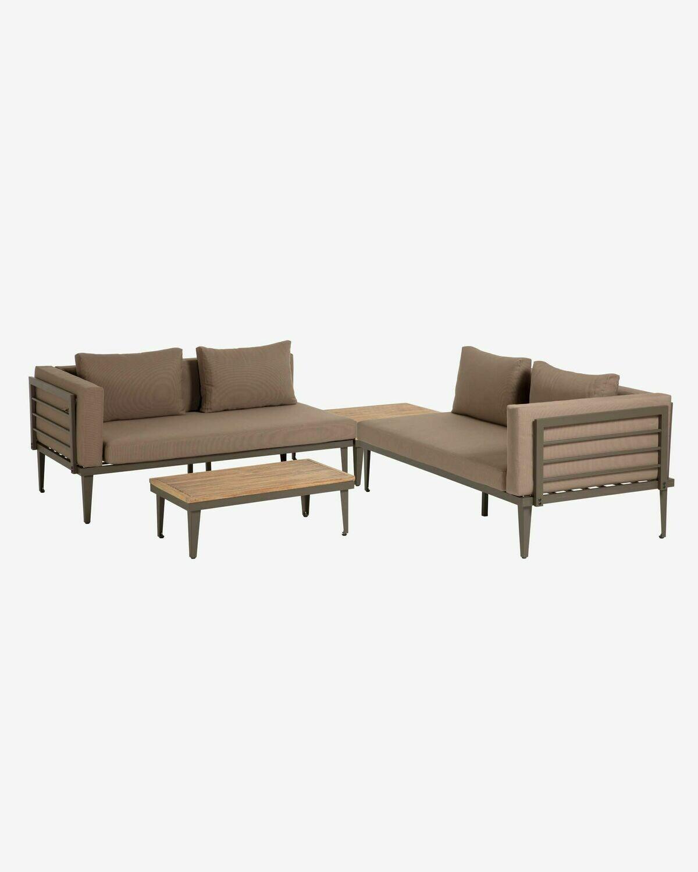 Set Pascale de 2 sofás, mesa de centro y mesa auxiliar