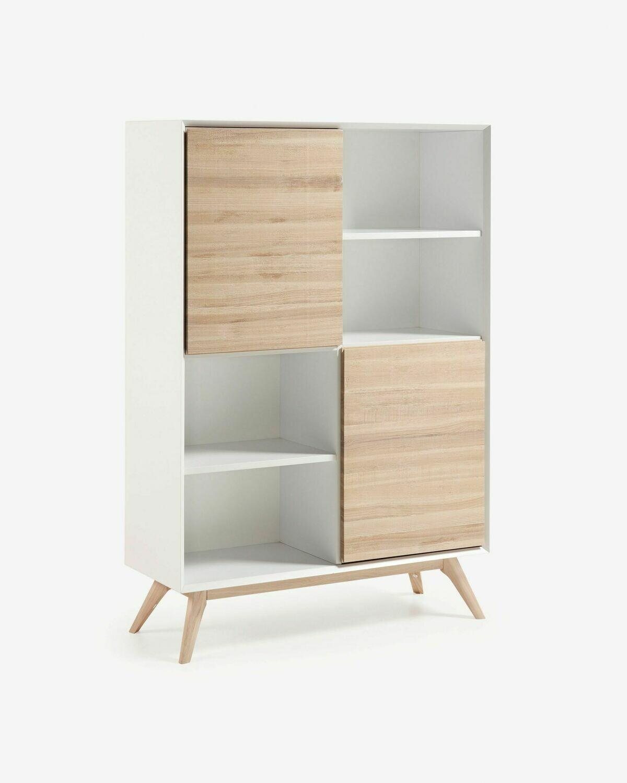 Estantería Eunice 104 x 152 cm con lacado blanco y chapa de fresno