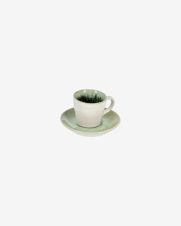 Taza de café con plato Zain verde