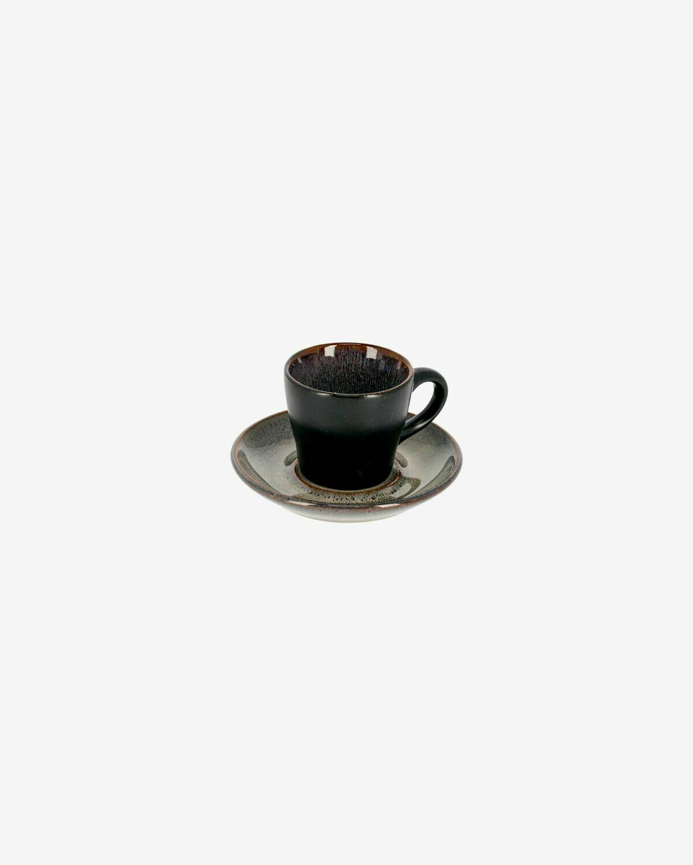 Taza de café con plato Odile azul oscuro