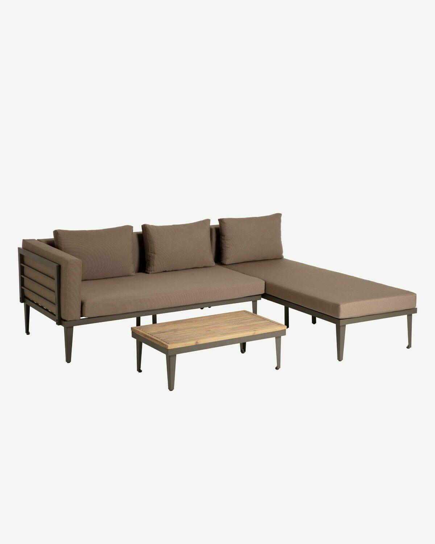 Set Pascale de sofá, chaise longue y mesa auxiliar