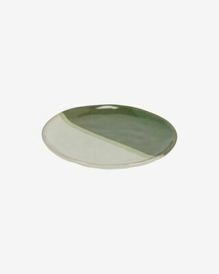 Plato de postre Naara blanco y verde