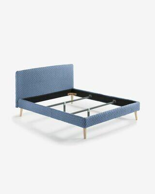 Funda cama acolchada Dyla colchón 160 x 200 cm azul claro