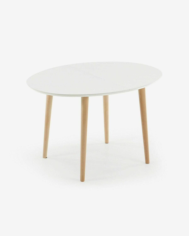 Mesa extensible oval Oqui 120 (200) x 90 cm  blanco
