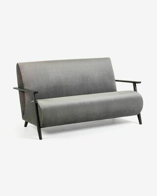 Sofá Meghan 2 plazas terciopelo gris 145 cm