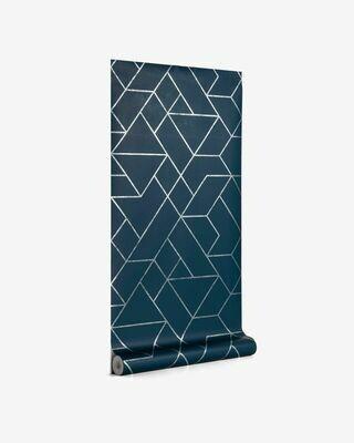 Papel pintado Gea azul y plateado 10 x 0,53 m