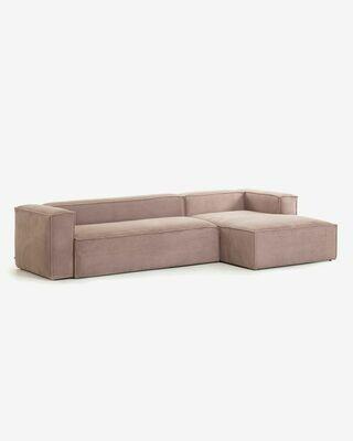 Sofá Blok 3 plazas chaise longue derecho pana rosa 330 cm