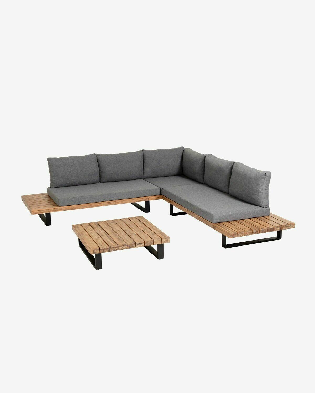 Set Zalika de sofá rinconero de 5 plazas y mesa