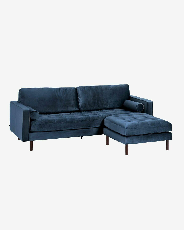Sofá Debra 3 plazas con reposapiés terciopelo azul 222 cm