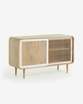 Mueble TV Georg 120 x 50 cm de madera maciza de mango y caña