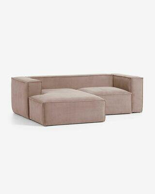 Sofá Blok 2 plazas chaise longue izquierdo pana rosa 240 cm