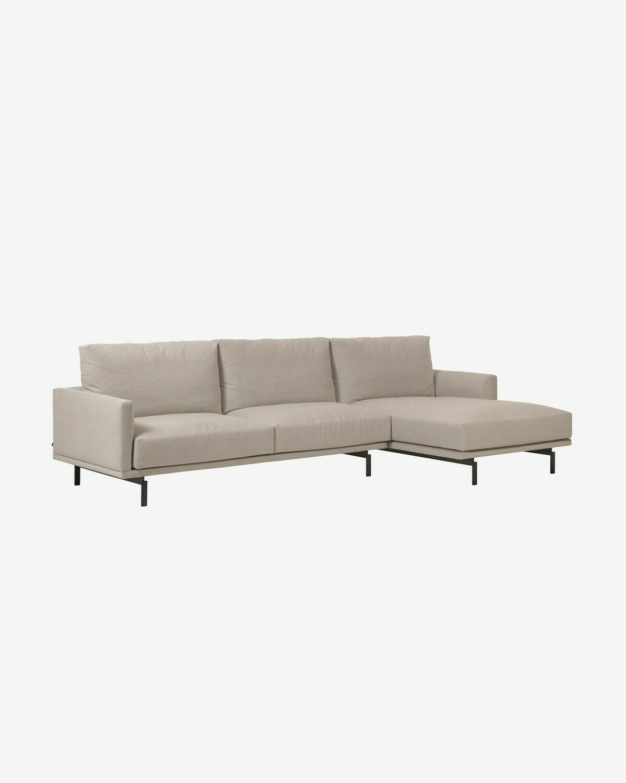 Sofá Galene de 3 plazas con chaise longue derecho beige 314 cm