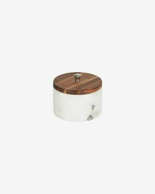 Bote pequeño Karla madera maciza acacia y mármol blanco