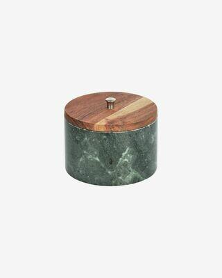 Bote grande Karla madera maciza acacia y mármol verde
