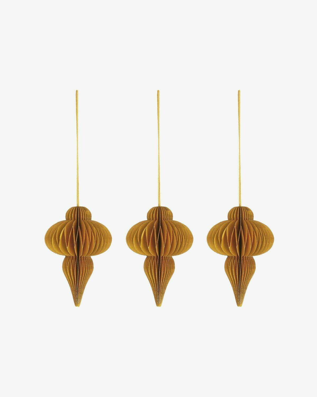 Set Yukii de 3 colgantes decorativos amarillo