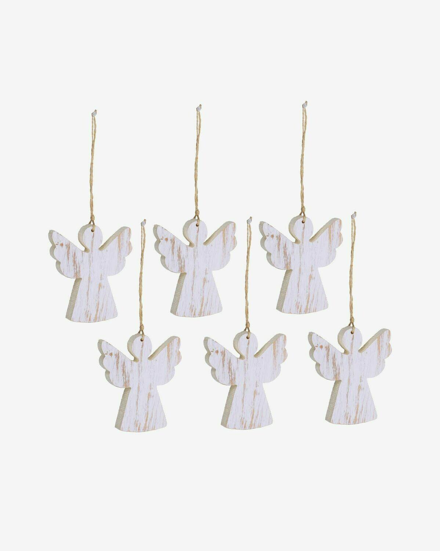 Set Keira de 6 colgantes decorativos de ángel madera maciza abedul