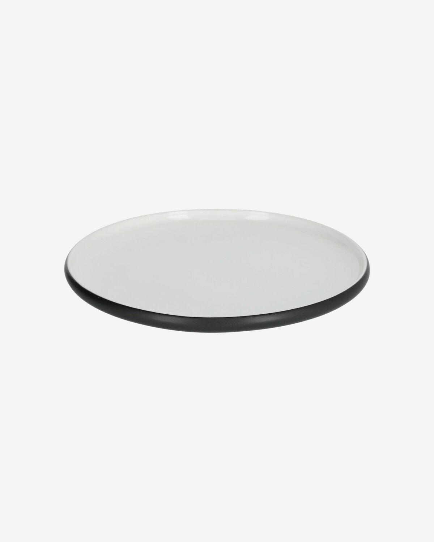 Plato plano Sadashi de porcelana blanco y negro