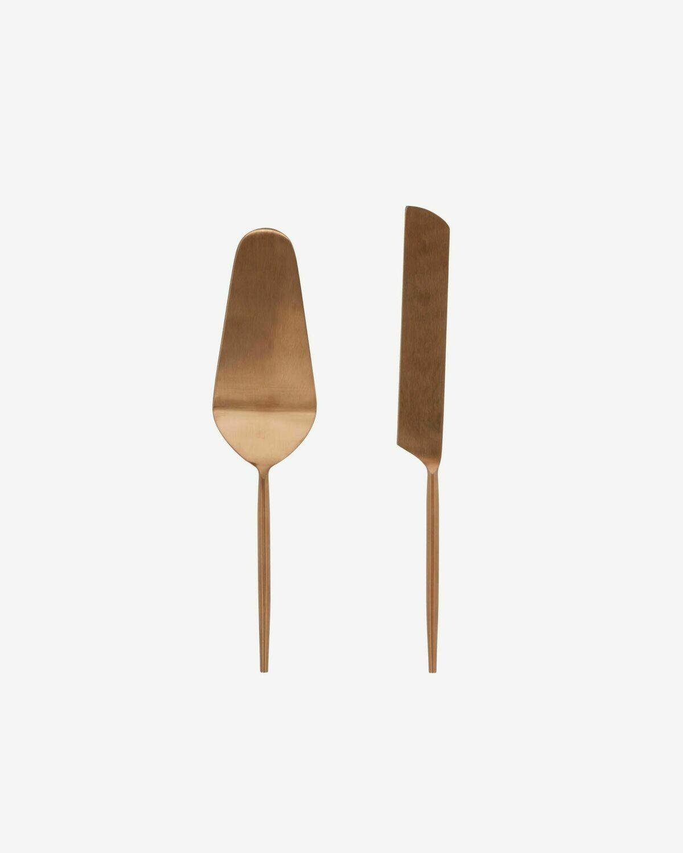 Set Kelda de 2 cubiertos para pastel cobre