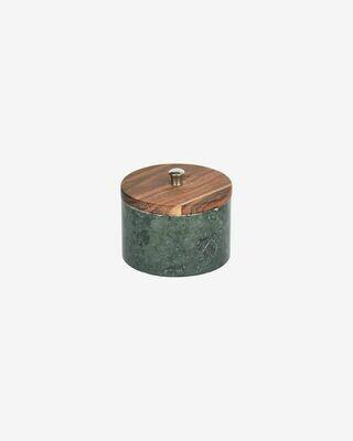 Bote pequeño Karla madera maciza acacia y mármol verde