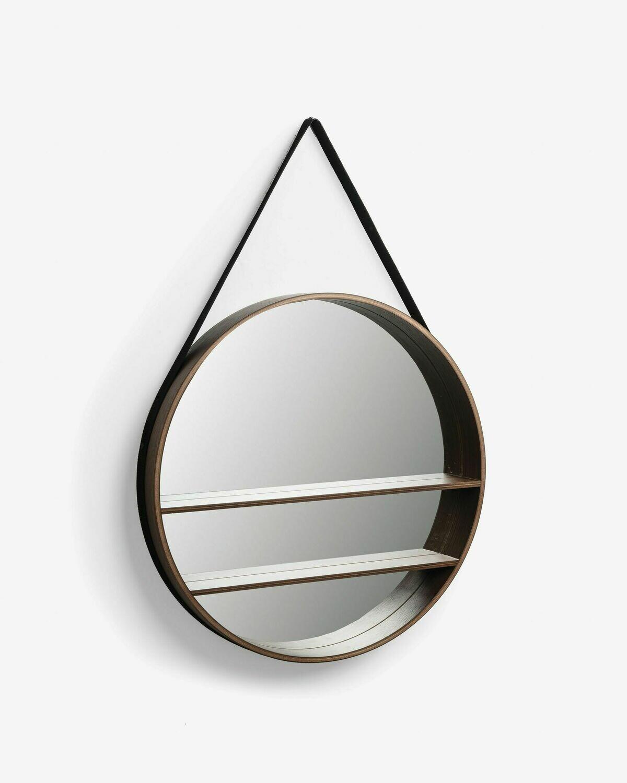 Espejo Belden de chapado de nogal Ø 58,5 cm