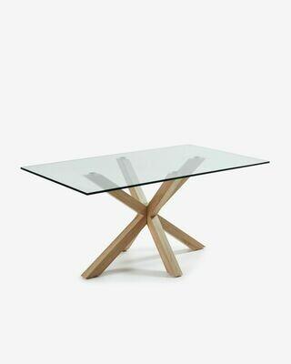 Mesa Argo 180 x 100 cm cristal patas de acero efecto madera