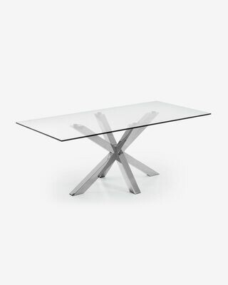 Mesa Argo 180 x 100 cm cristal patas de acero inoxidable