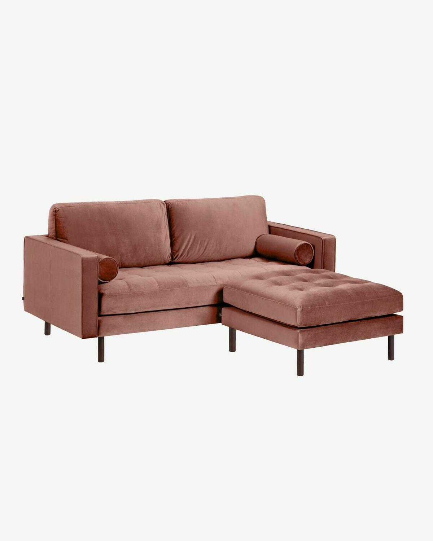 Sofá Debra 2 plazas con reposapiés terciopelo rosa 182 cm