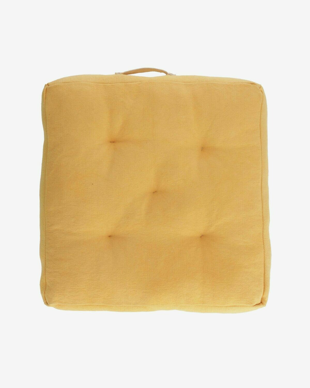 Cojín para suelo Sarit 100% algodón (GOTS) mostaza 60 x 60 cm