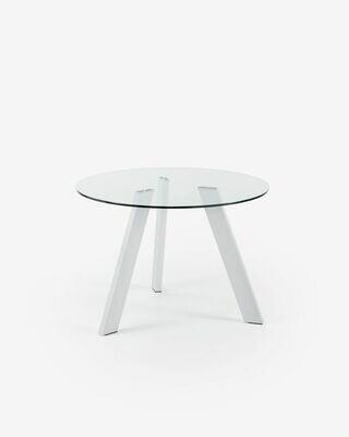 Mesa Carib Ø 110 cm cristal patas de acero acabado blanco