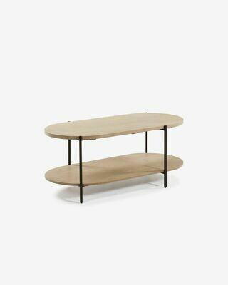 Mesa de centro Palmia 110 x 55 cm madera maciza de mango patas acero acabado negro
