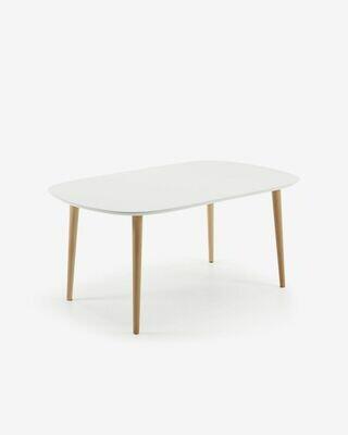 Mesa extensible oval Oqui blanco 160 (260) x 100 cm