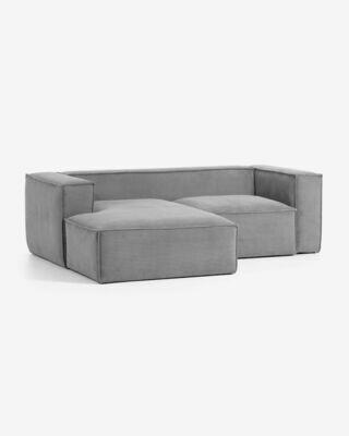 Sofá Blok 2 plazas chaise longue izquierdo pana gris 240 cm