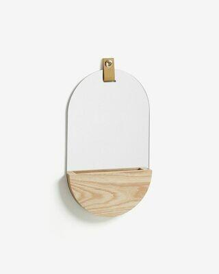 Espejo oval Brant de madera maciza de fresno 23 x 38 cm