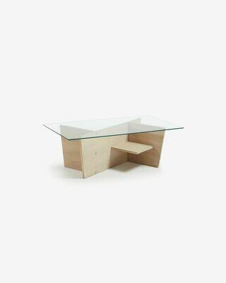Mesa centro Balwind cristal y base de madera maciza de roble 110 x 60 cm
