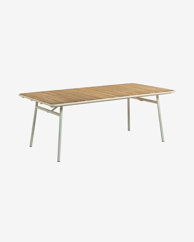 Mesa Robyn 90 x 48 cm madera maciza acacia efecto teca patas acero blanco
