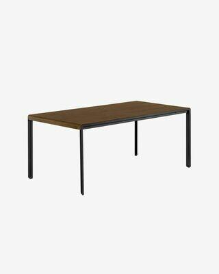 Mesa extensible Nadyria 160 (200) x 90 cm chapa de nogal patas de acero acabado negro