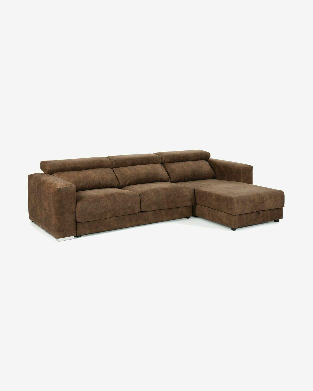 Sofá Atlanta 3 plazas chaise longue marrón óxido 290 cm