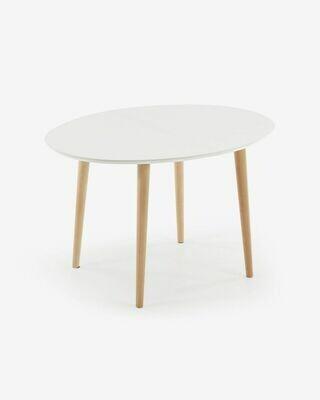 Mesa extensible oval Oqui blanco 120 (200) x 90 cm