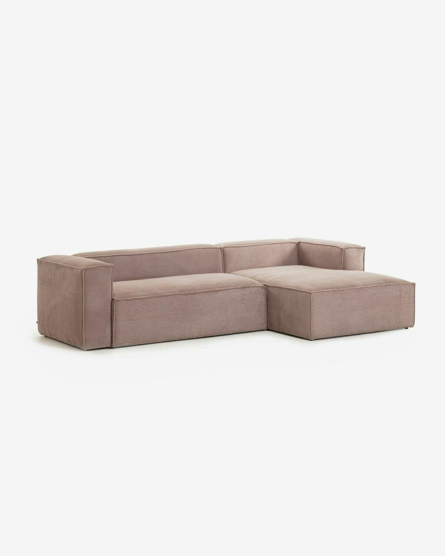 Sofá Blok 3 plazas chaise longue derecho pana rosa 300 cm